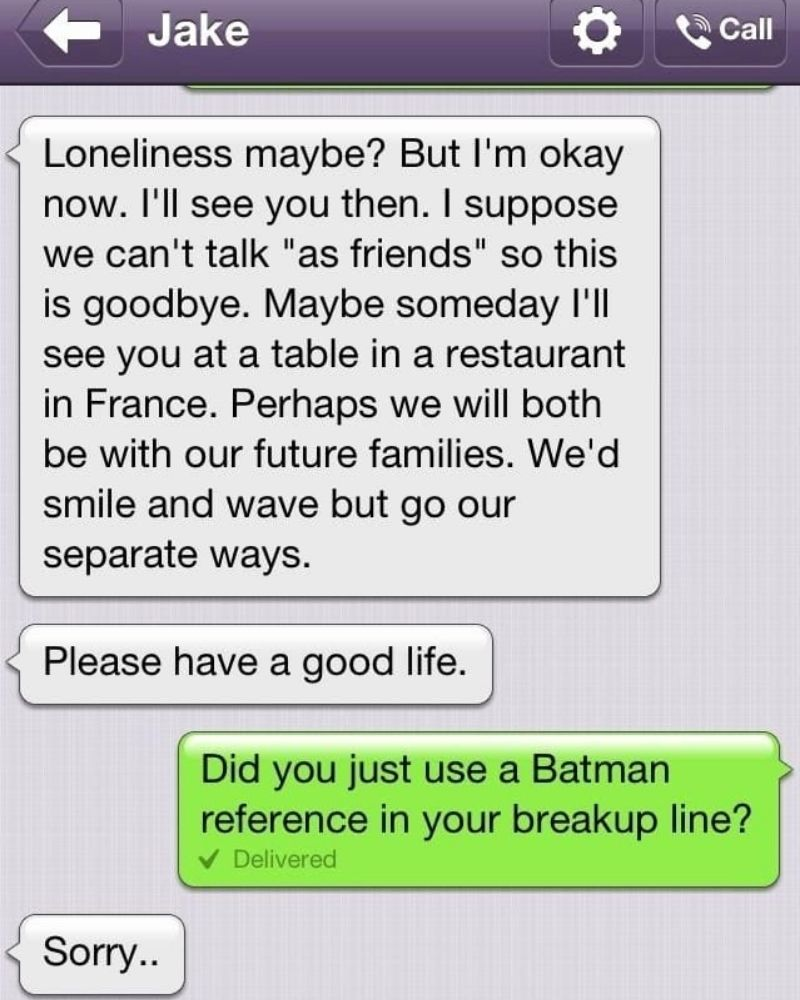 Batman played a huge part in one person's breakup message