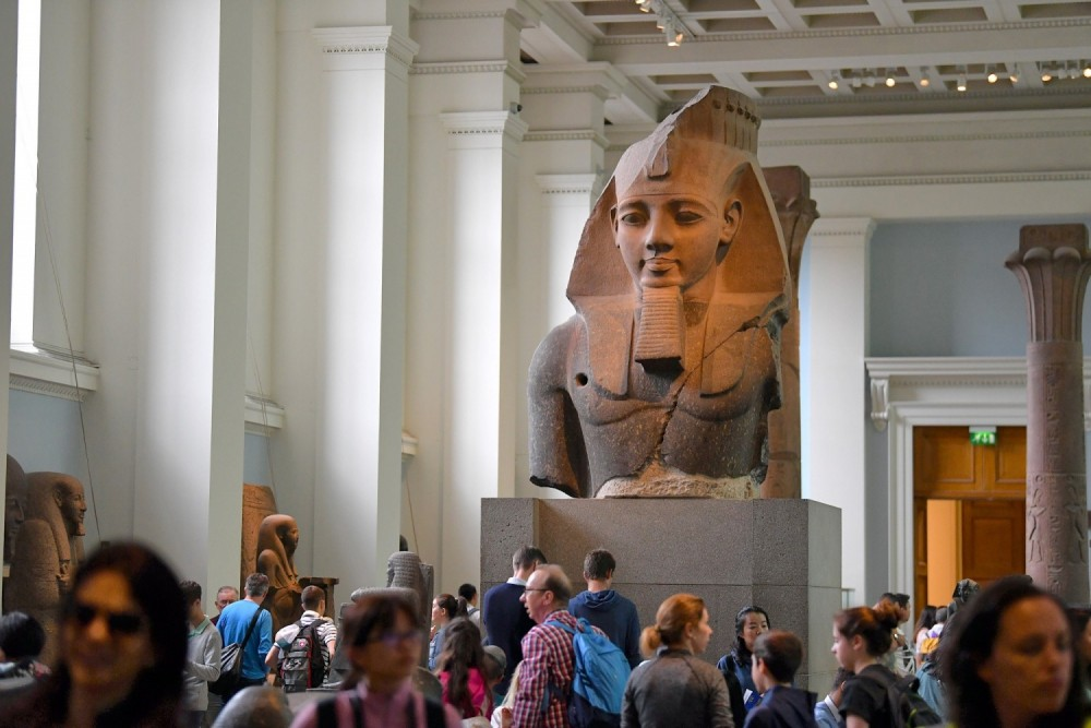 Ancient Egyptian sculptures aren't there as a toy or a leaning post